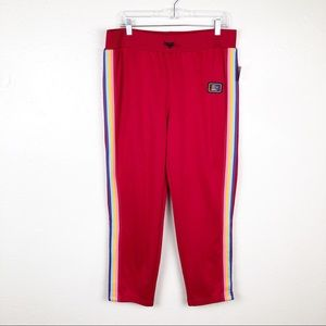 Juicy Couture Pants - Juicy Couture Red Track Pant Rainbow Stripe L